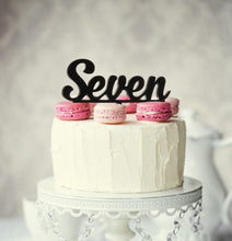 "Load image into Gallery viewer, Cake Topper - ""Seven"" Black Acrylic"