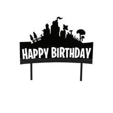 "Load image into Gallery viewer, Cake Topper - Fortnite ""Happy Birthday"" Black Acrylic"