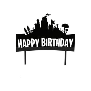"Cake Topper - Fortnite ""Happy Birthday"" Black Acrylic"