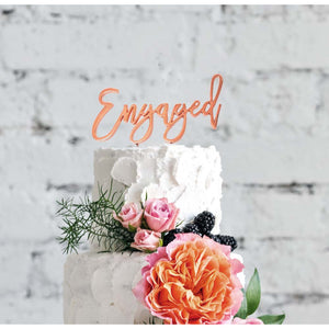 "Cake Topper - ""Engaged"" Rose Gold Plated"