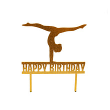 "Load image into Gallery viewer, Cake Topper - Gymnast ""Happy Birthday"" Gold Glitter Acrylic"