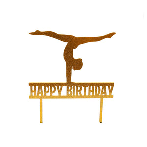 "Cake Topper - Gymnast ""Happy Birthday"" Gold Glitter Acrylic"