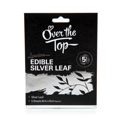 Edible Silver Leaf - 5 Transfer Sheets 8cm x 8cm