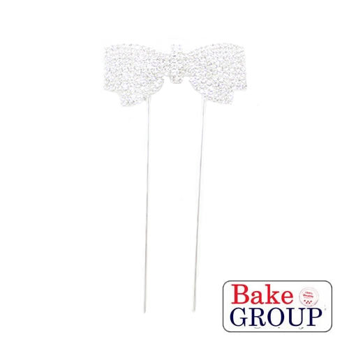 Cake Topper - Bows Silver Diamante