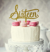 "Load image into Gallery viewer, Cake Topper - ""Sixteen"" Gold Glitter Acrylic"