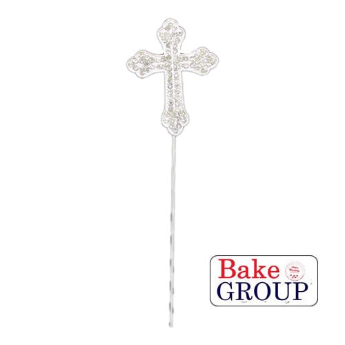 Cake Topper - Cross Silver Diamante