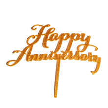"Load image into Gallery viewer, Cake Topper - ""Happy Anniversary"" Gold Glitter Acrylic"