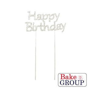 "Cake Topper - ""Happy Birthday"" Silver Diamante"
