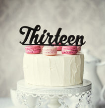 "Load image into Gallery viewer, Cake Topper - ""Thirteen"" Black Acrylic"