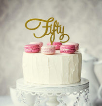"Load image into Gallery viewer, Cake Topper - ""Fifty"" Gold Glitter Acrylic"