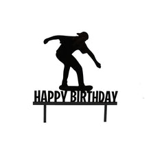 "Load image into Gallery viewer, Cake Topper - Skater ""Happy Birthday"" Black Acrylic"