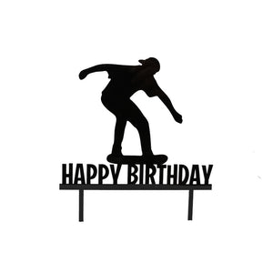 "Cake Topper - Skater ""Happy Birthday"" Black Acrylic"