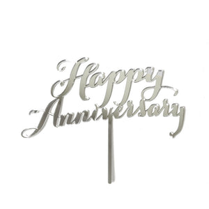 "Cake Topper - ""Happy Anniversary"" Silver Mirror"