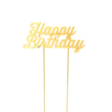 "Load image into Gallery viewer, Cake Topper - ""Happy Birthday"" Gold Plated"