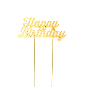 "Cake Topper - ""Happy Birthday"" Gold Plated"