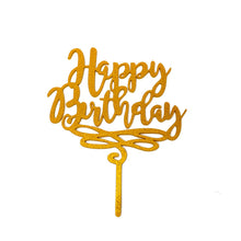 "Load image into Gallery viewer, Cake Topper - ""Happy Birthday"" Gold Glitter Acrylic"