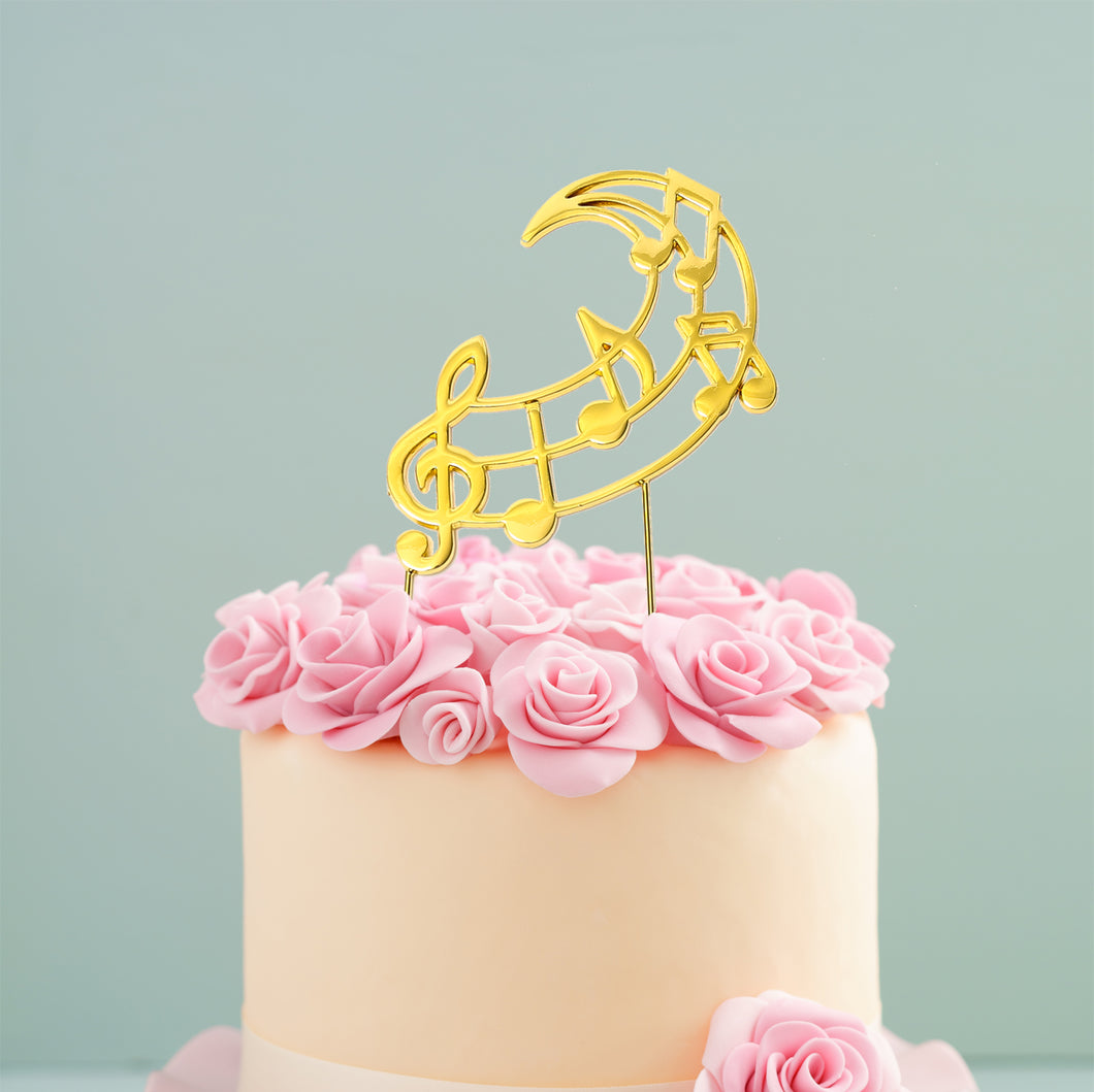 Cake Topper - Music Notes Gold Plated