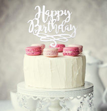 "Load image into Gallery viewer, Cake Topper - ""Happy Birthday"" White Acrylic"