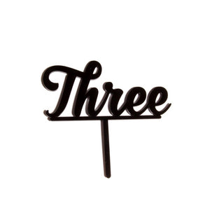 "Cake Topper - ""Three"" Black Acrylic"