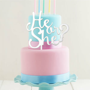 "Cake Topper - ""He Or She?"" White Acrylic"