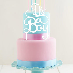 "Cake Topper - ""It's A Boy"" White Acrylic"