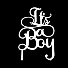 "Load image into Gallery viewer, Cake Topper - ""It's A Boy"" White Acrylic"