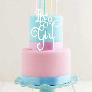 "Cake Topper - ""It's A Girl"" White Acrylic"