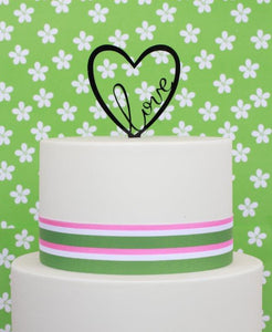 "Cake Topper - ""Love"" Heart Black Acrylic"