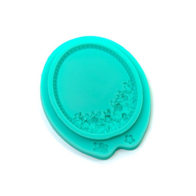 Silicone Mould - Floral Oval Frame