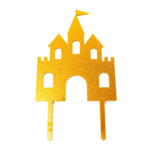 Cake Topper - Princess Castle Gold Glitter Acrylic