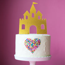 Load image into Gallery viewer, Cake Topper - Princess Castle Gold Glitter Acrylic