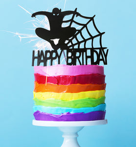 "Cake Topper - Spiderman ""Happy Birthday"" Black Acrylic"