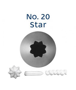 Piping Tip Stainless Steel Open Star Standard No. 20