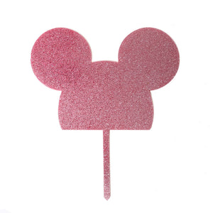 Cake Topper - Mouse Pink Glitter Acrylic