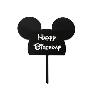 "Cake Topper - Mouse ""Happy Birthday"" Black Acrylic"