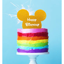 "Load image into Gallery viewer,  Cake Topper - Mouse ""Happy Birthday"" Gold Glitter Acrylic"