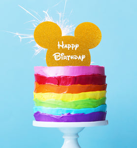 "Cake Topper - Mouse ""Happy Birthday"" Gold Glitter Acrylic"