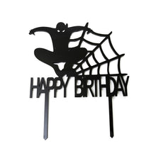"Load image into Gallery viewer, Cake Topper - Spiderman ""Happy Birthday"" Black Acrylic"