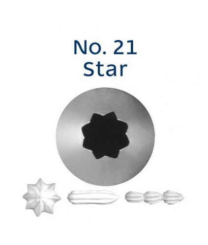 Piping Tip Stainless Steel Open Star Standard No. 21
