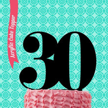 "Load image into Gallery viewer, Cake Topper - ""30"" Black Acrylic"