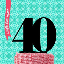 "Load image into Gallery viewer, Cake Topper - ""40"" Black Acrylic"