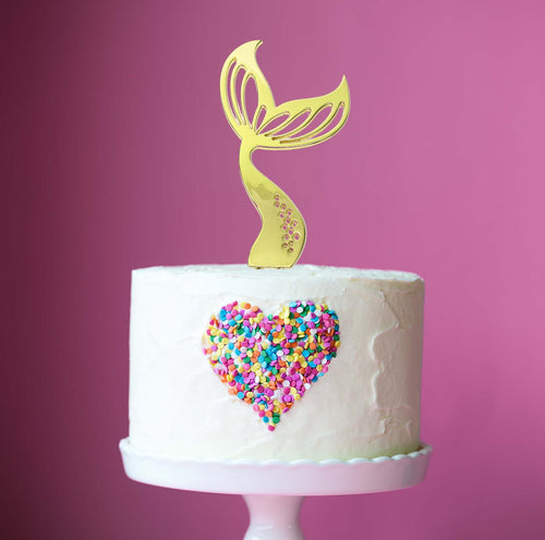 Cake Topper - Mermaid Tail Gold Plated