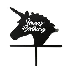 "Load image into Gallery viewer, Cake Topper - Unicorn ""Happy Birthday"" Black Acrylic"