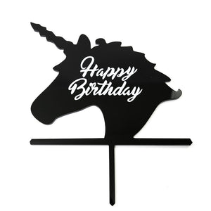 "Cake Topper - Unicorn ""Happy Birthday"" Black Acrylic"
