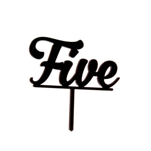 "Cake Topper - ""Five"" Black Acrylic"