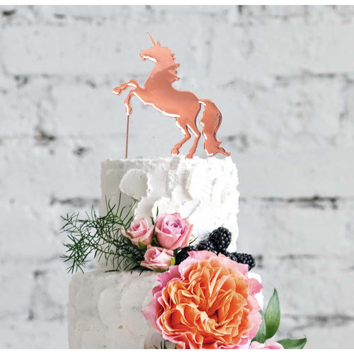 Cake Topper - Unicorn Rose Gold Plated