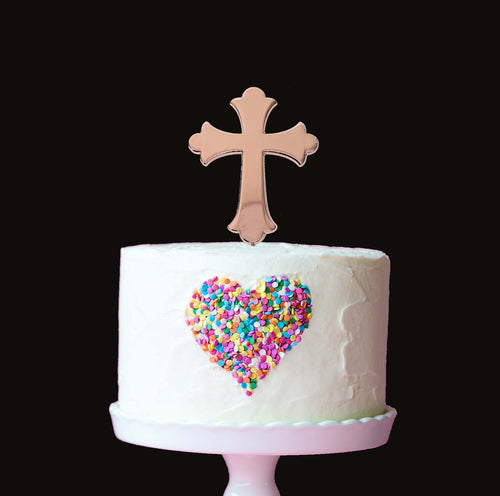 Cake Topper - Cross Rose Gold Plated