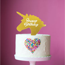 "Load image into Gallery viewer, Cake Topper - Unicorn ""Happy Birthday"" Gold Glitter Acrylic"