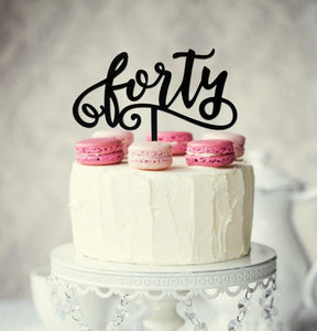 "Cake Topper - ""Forty"" Black Acrylic"