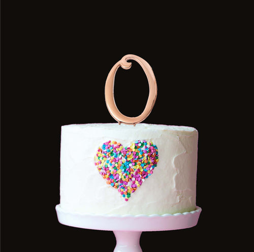 Cake Topper - Number 0 Rose Gold 7cm